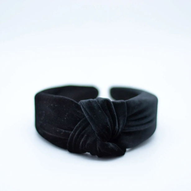 Knotted Headband - Black Velvet