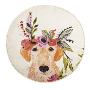 Floral Dog Embroidered Printed Pillow