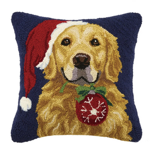Retriever Dog With Ornament Hook Pillow