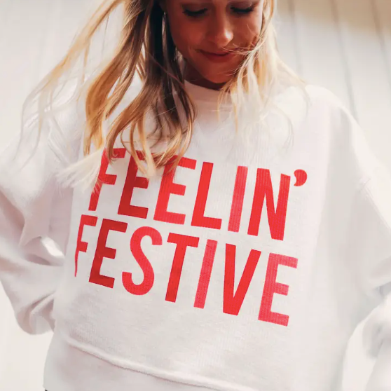 Feelin Festive Crop Cord Sweatshirt