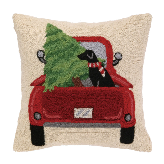 Christmas Tree and Lab In Truck Hook Pillow