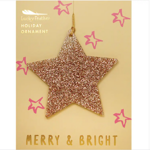 Gold Glitter Ornament - Shape - STAR
