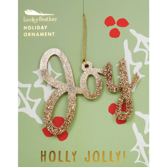 Gold Glitter Ornament - Shape - JOY