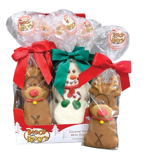 Pre-packaged Tall Reindeer and Snowman Dog Cookies