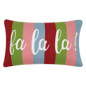 Fa La La Crewel Pillow - Christmas Pillow