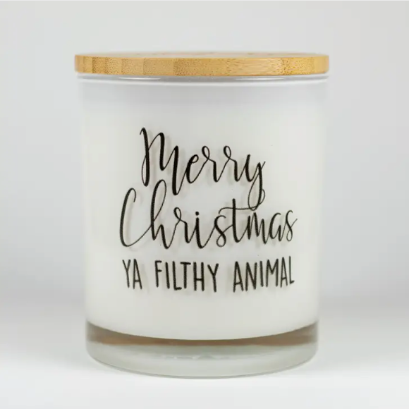 Merry Christmas Ya Filthy Animal Soy Candle - Peppermint Mocha
