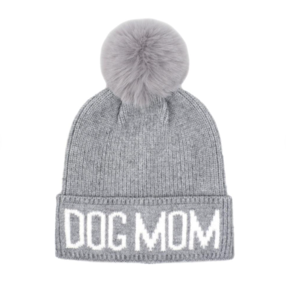 Dog Mom Beanie Hat - Gray/White