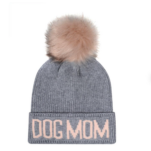 Dog Mom Beanie Hat - Pink/Gray