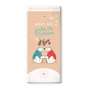 Meet Me Under The Mistletoe - Sea Salt Caramel Dark Chocolate - Holiday Chocolate Bar