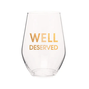 Well Deserved Stemless Wine Glass - 19 oz