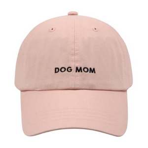 Dog Mom Embroidered Baseball Hat/Cap  - Pink/Black