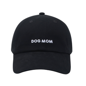 Dog Mom Embroidered Baseball Hat/Cap  - Black/White
