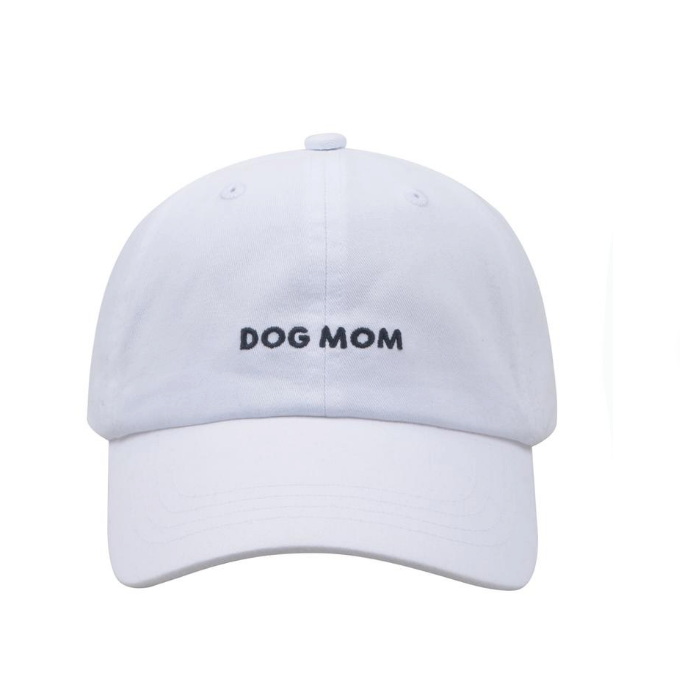 Dog Mom Embroidered Baseball Hat/Cap  - White/Black