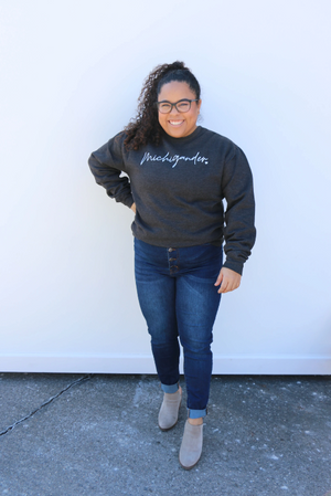 Michigander Script Cozy Crew Sweatshirt