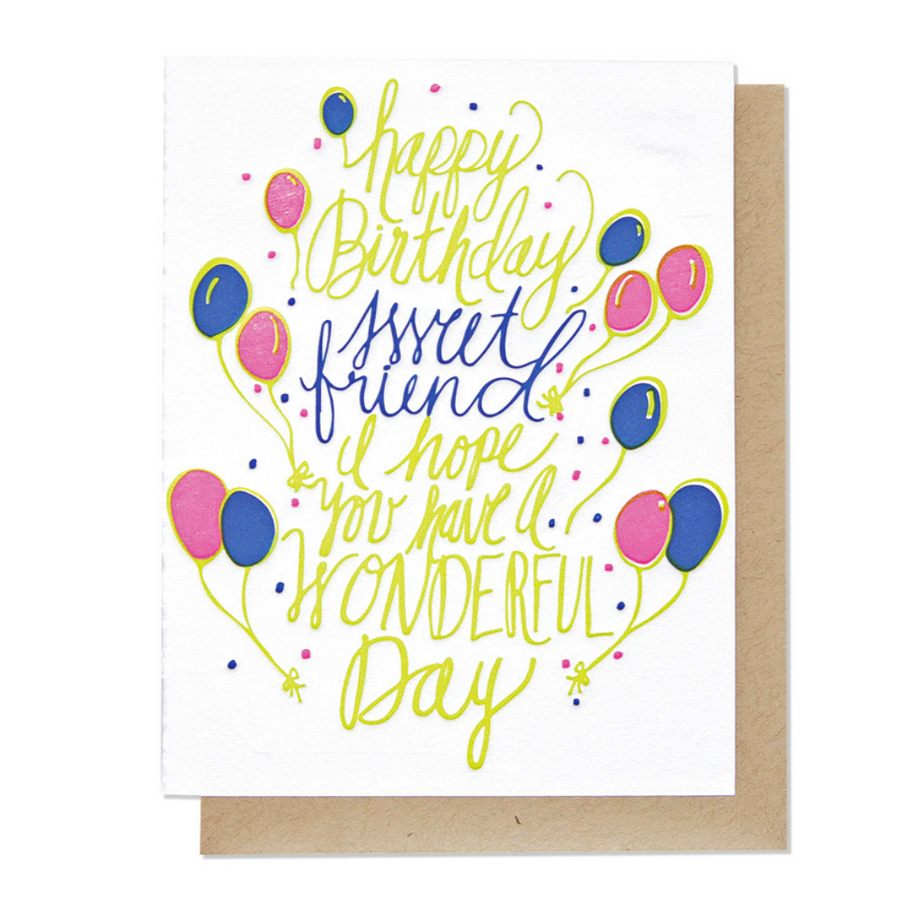 Sweet Friend Birthday Letterpress Card