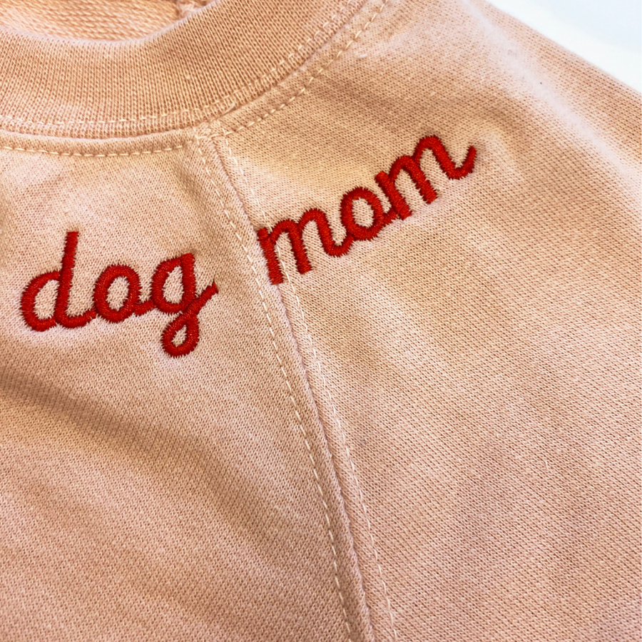 Dog Mom Embroidered Lightweight Terry Crew