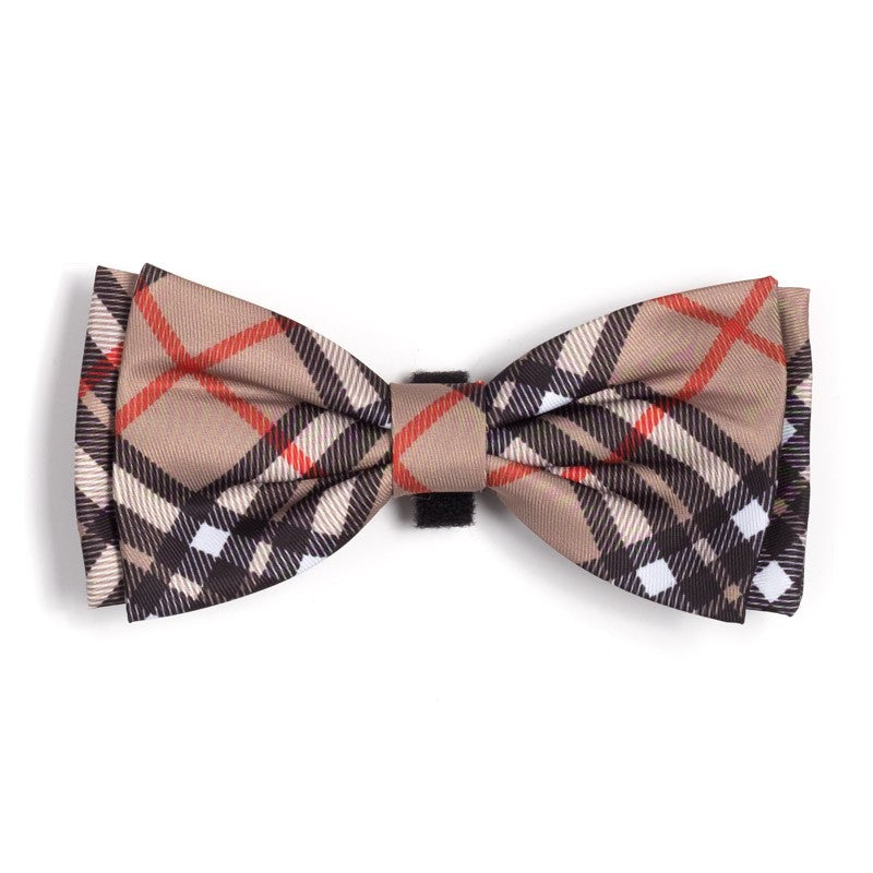 Bias Plaid Tan Bow Tie