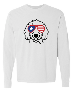 Patriotic Doodle Comfort Colors Long Sleeve T-Shirt