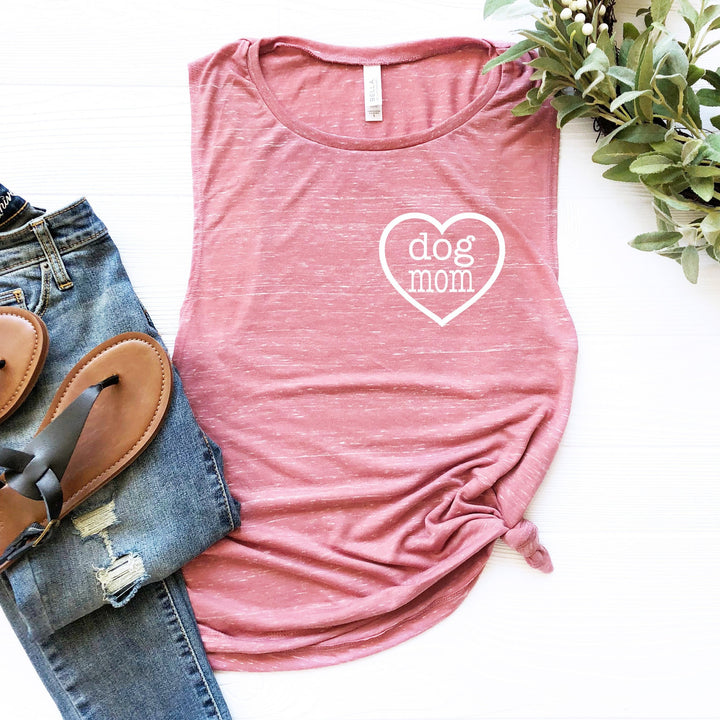 Dog Mom Heart Ladies Muscle Tank