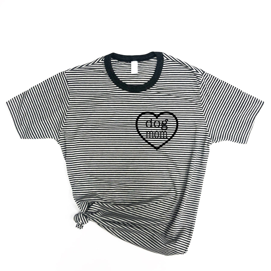 Dog Mom Heart Stripe Tee - Wholesale