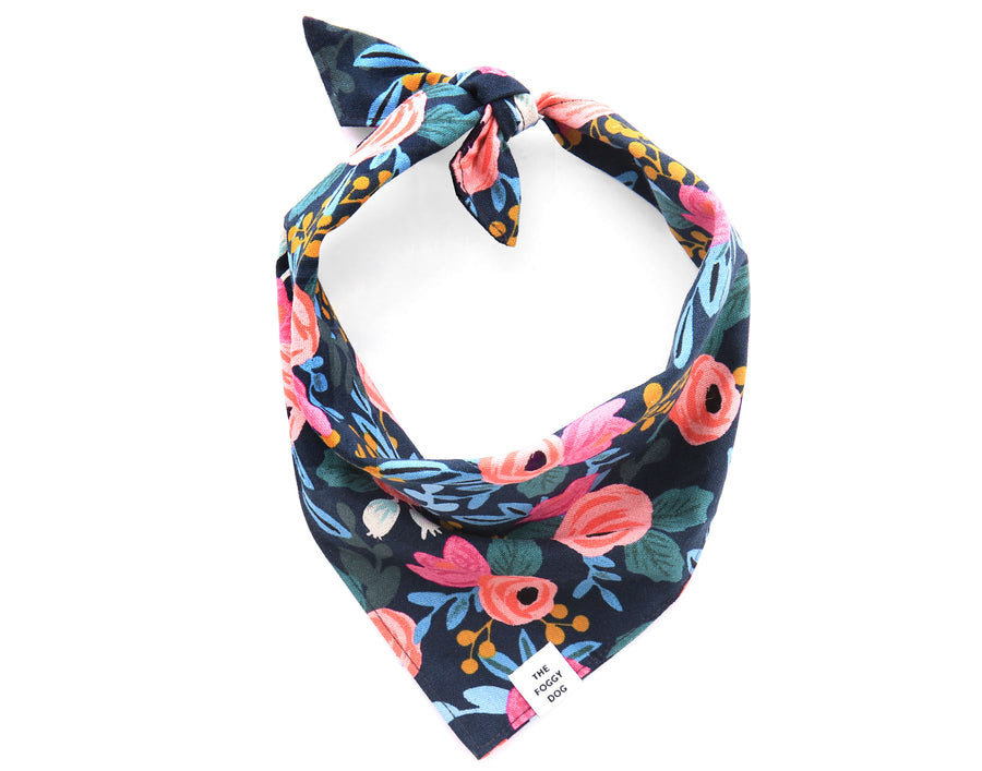 The Foggy Dog - Rosa Floral Navy Bandana