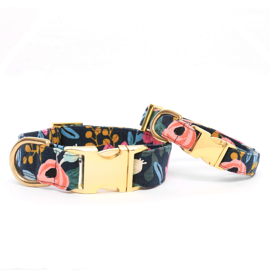 The Foggy Dog - Rosa Floral Navy Dog Collar