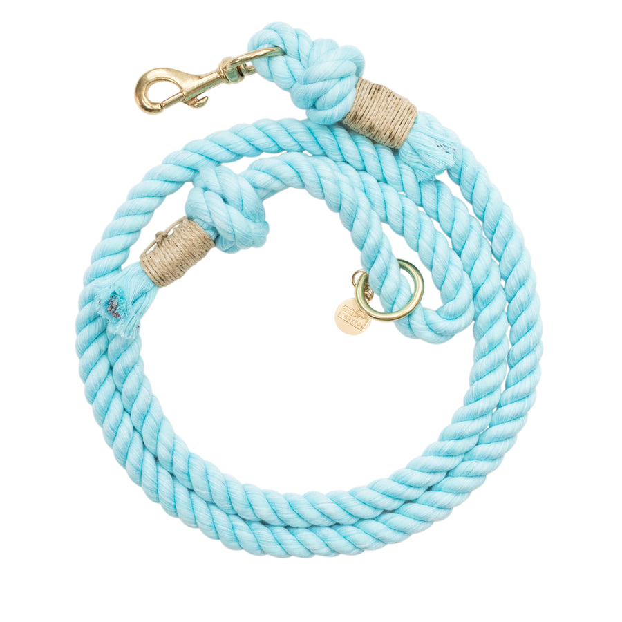 Upcycled Core Cotton Rope Dog Leash - Medium Aqua