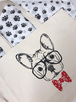 Personalized Frenchie Jumbo Tote Bag - bow tie