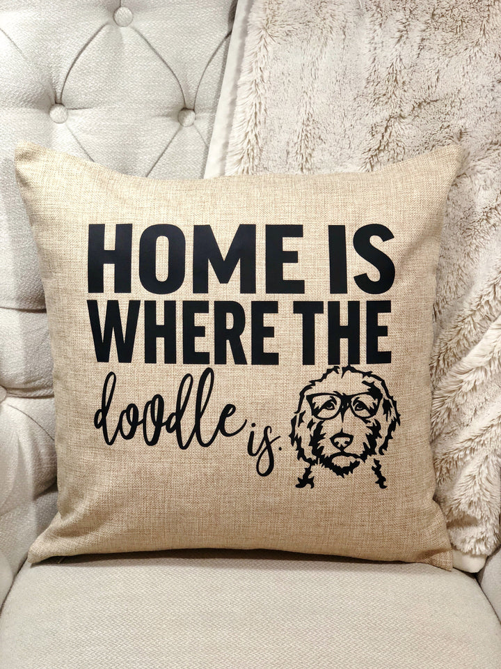 Home Is Where the Doodle Is Pillow Cover
