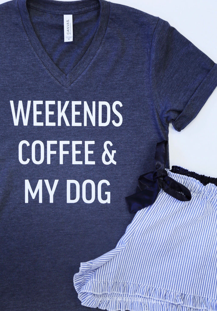 Weekends Coffee & My Dog Seersucker Pajama Set - Shorts