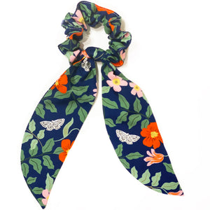 Rifle Paper Co Fabric Floral Scrunchie Scarves - Navy Primrose