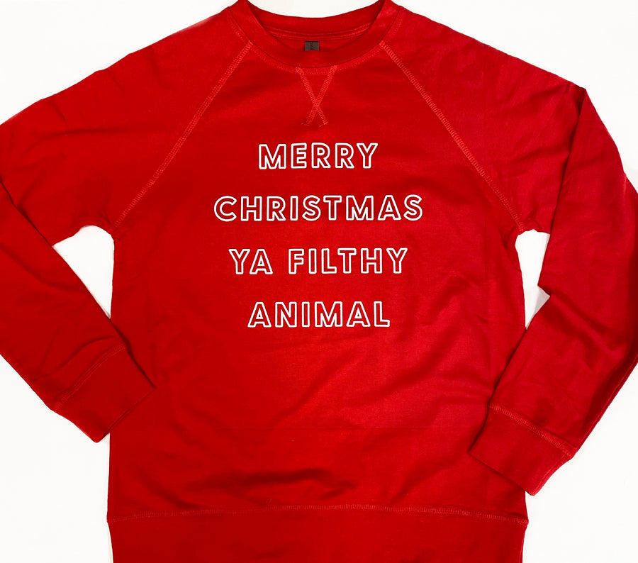 Merry Christmas Ya Filthy Animal - Lightweight Pullover Sweater