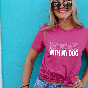 Day Drinks With My Dog Crewneck T-Shirt