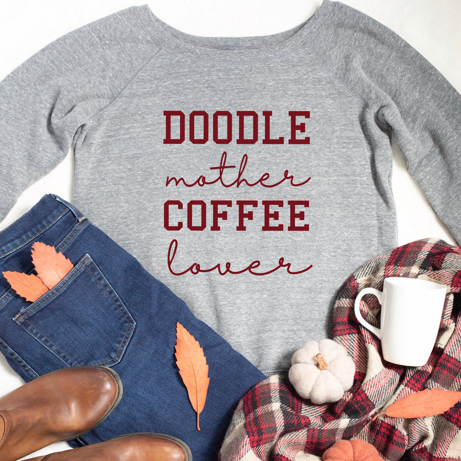 Doodle Mother Coffee Lover Slouchy Sweatshirt