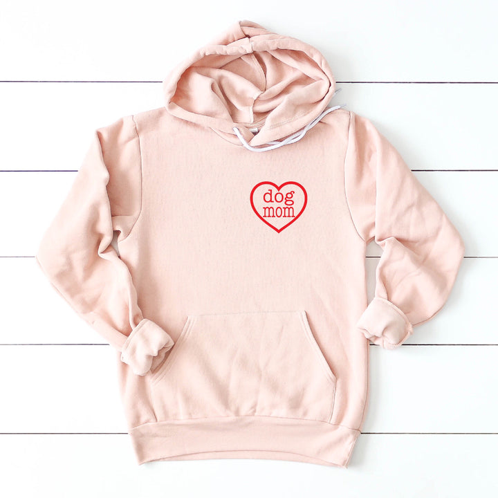Dog Mom Heart Pullover Hooded Sweatshirt