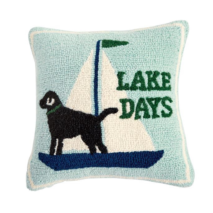 Lake Days Dog Sailboat Hook Pillow