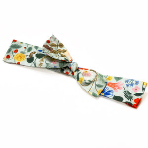 Rifle Paper Co Cotton Floral Headbands with bow - Mint Strawberry Fields
