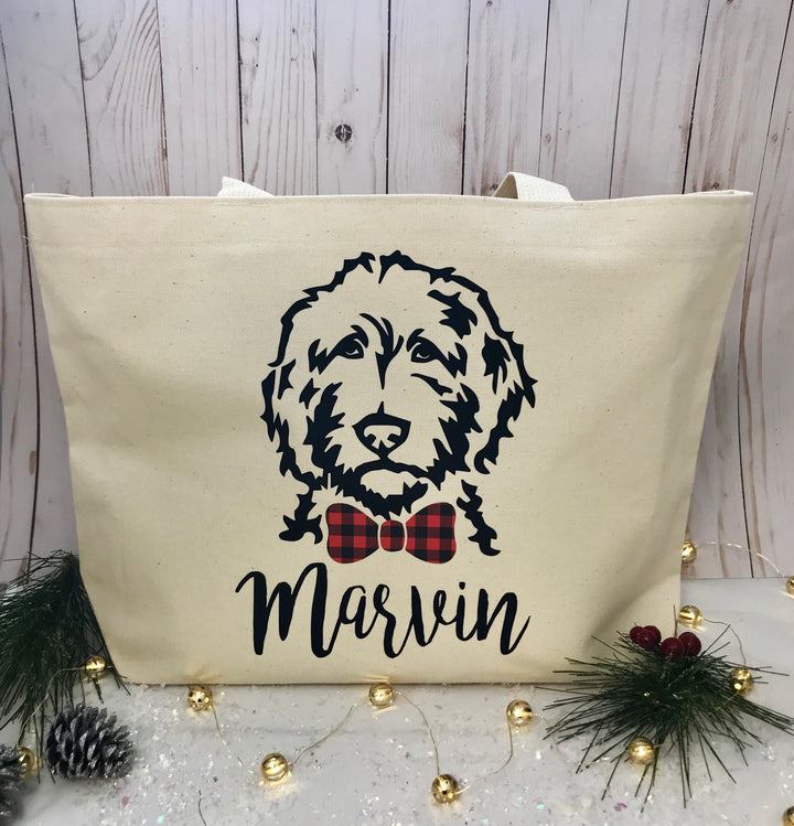 Personalized Buffalo Plaid Bow OR Bow Tie Tote Bag
