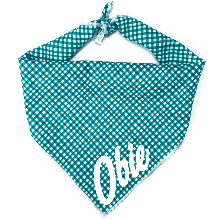 Marine Gingham Dog Bandana