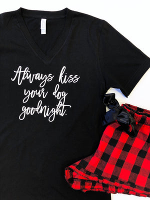 Always Kiss Your Dog Goodnight Buffalo Plaid Flannel Pajama Set -  Shorts