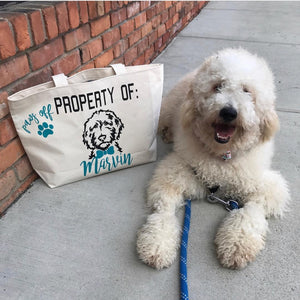 Paws Off, Property of Personalized Doodle Jumbo Tote Bag Bow OR Bow Tie