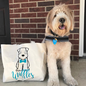 Personalized Wheaten Jumbo Tote Bag - bow tie