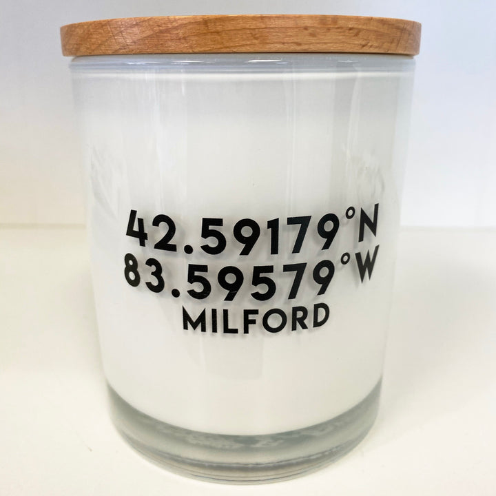 Milford, Michigan Coordinates Soy Candle - Vintage Moss