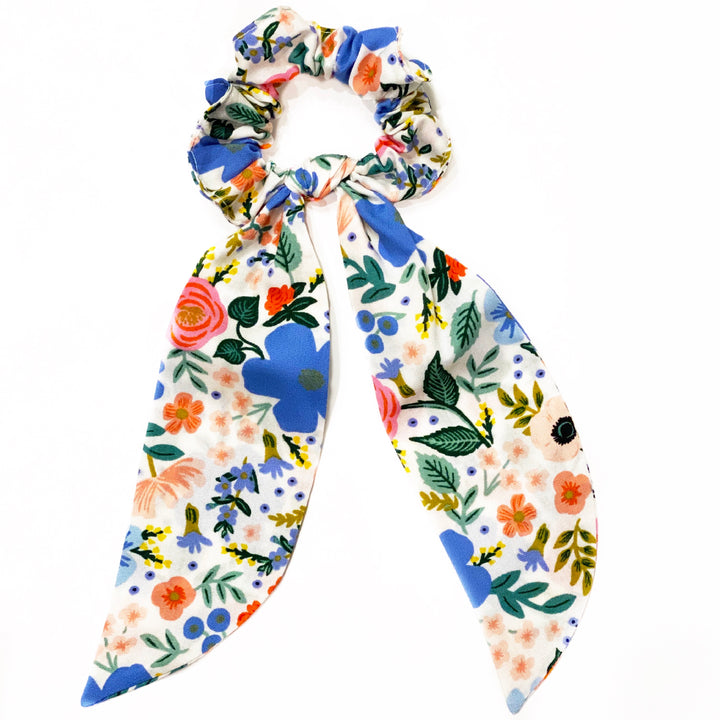 Rifle Paper Co Fabric Floral Scrunchie Scarves - White Wild Rose