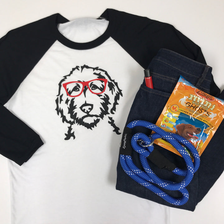 Doodle Face with Glasses Baseball T-Shirt