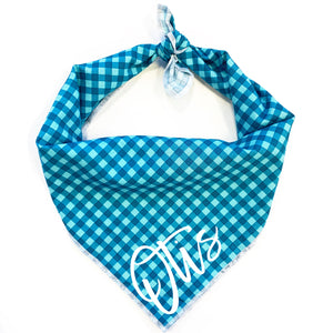 Teal Gingham Dog Bandana