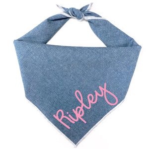 Chambray Dog Bandana - Choose your name color!