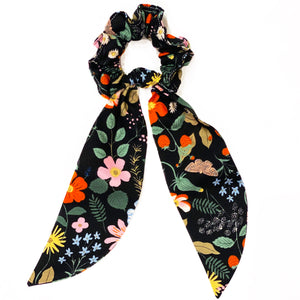 Rifle Paper Co Fabric Floral Scrunchie Scarves - Black Strawberry Fields