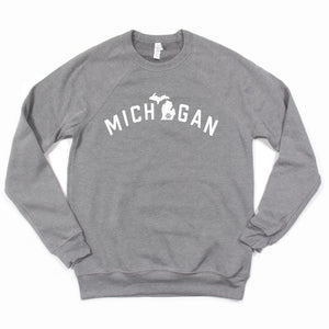 Michigan Pawsome Gray Fleece Crewneck Sweatshirt