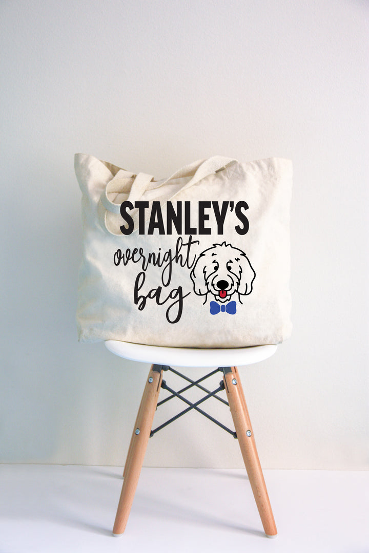 Personalized Overnight Doodle Canvas Jumbo Tote Bag